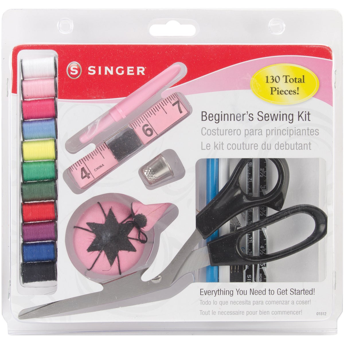 Singer Beginner's Sewing Kit (Beginners Sewing Kit), Red ...