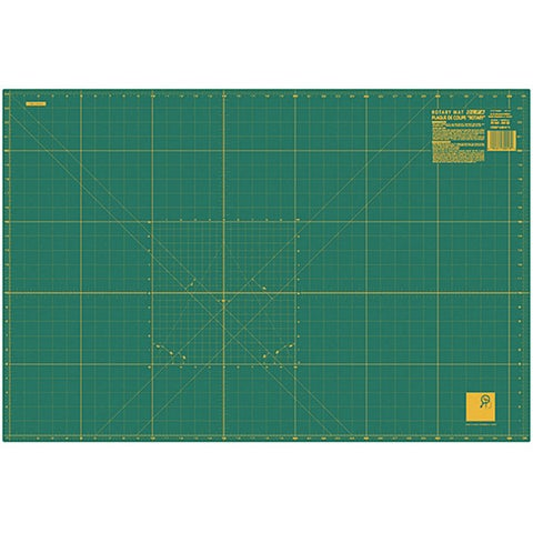 Olfa Green/Yellow Fabric 24x36 Gridded Cutting Mat