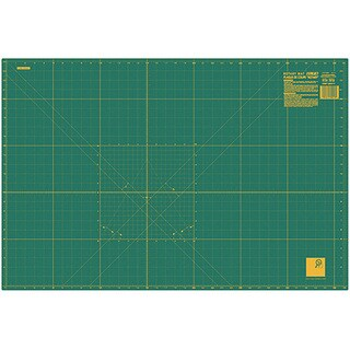 Olfa Green/Yellow Fabric 24x36 Gridded Cutting Mat