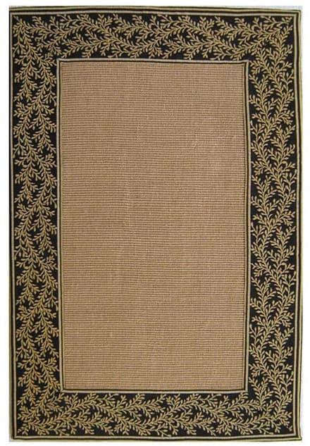 Hand-woven Black Sisal Tapestry Rug (5' x 8')