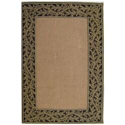 Hand-woven Black Sisal Tapestry Rug (8' x 10') - Thumbnail 0