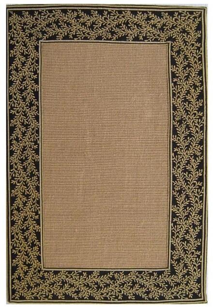Hand-woven Black Sisal Tapestry Rug (8'9 x 12') - 8'9 x 12'