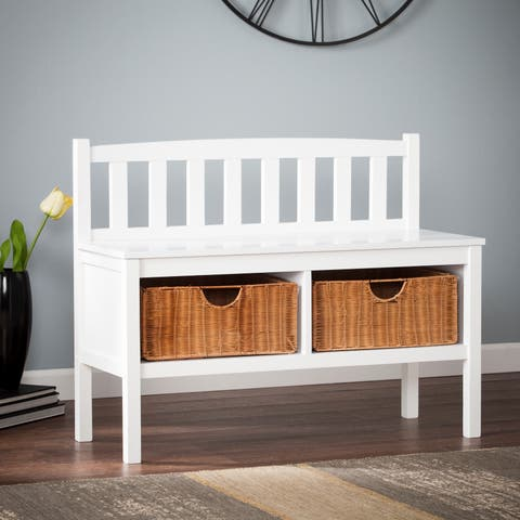 The Gray Barn Brookside White Bench with Rattan Basket Storage