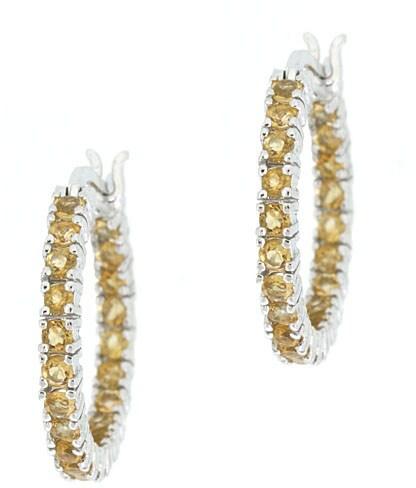 Glitzy Rocks Sterling Silver Inside-out Citrine Hoop Earrings