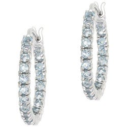 Glitzy Rocks Sterling Silver Inside-out Blue Topaz Hoop Earrings