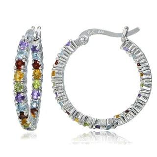 Glitzy Rocks 18k Gold overlay/Sterling Silver Multi-gemstone Hoop Earrings