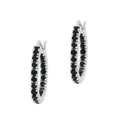 Glitzy Rocks Sterling Silver Inside-out Sapphire Hoop Earrings