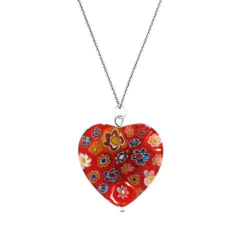 Glitzy Rocks Silver Red Venetian Glass Heart Necklace
