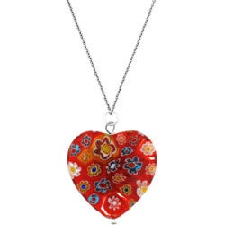 Glitzy Rocks Silver Red Venetian Glass Heart Necklace