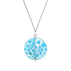 Glitzy Rocks Silver Light Blue Venetian Glass Necklace
