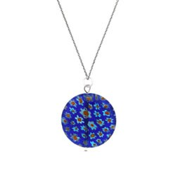 Glitzy Rocks Sterling Silver Blue Venetian Glass Necklace