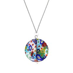 Glitzy Rocks Sterling Silver Multicolor Venetian Glass Necklace