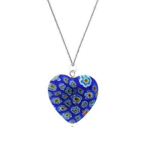 Glitzy Rocks Silver Blue Venetian Glass Heart Necklace
