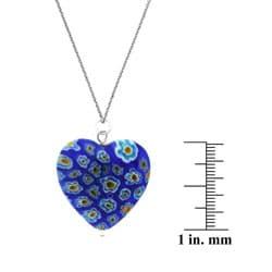 Glitzy Rocks Silver Blue Venetian Glass Heart Necklace - Thumbnail 2