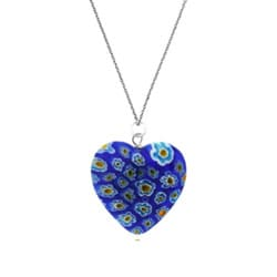 Glitzy Rocks Silver Blue Venetian Glass Heart Necklace