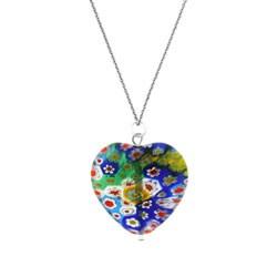 Glitzy Rocks Sterling Silver Venetian Glass Heart Necklace
