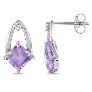 Miadora 10k Gold Amethyst and Diamond Accent Earrings