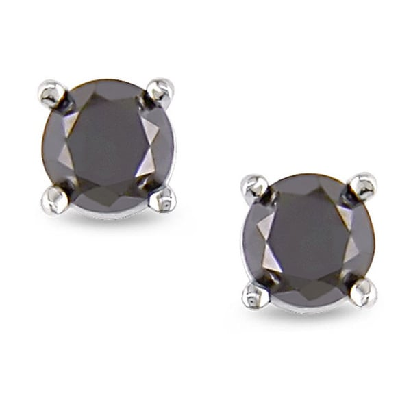 Miadora 14k Gold 1/4ct TDW Black Diamond Solitaire Stud Earrings