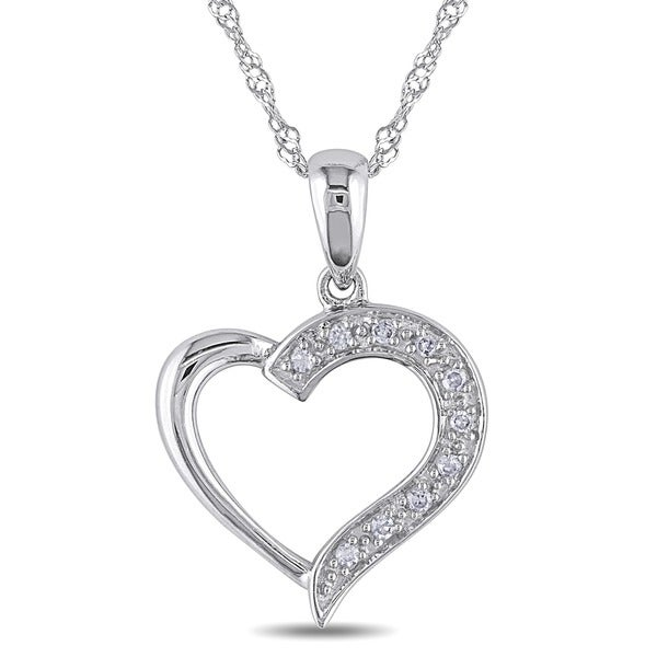 Miadora 14k White Gold Diamond Heart Necklace and Gift Box