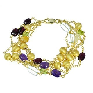 Glitzy Rocks 18k Gold Overlay 6-strand Multi-gemstone Bracelet