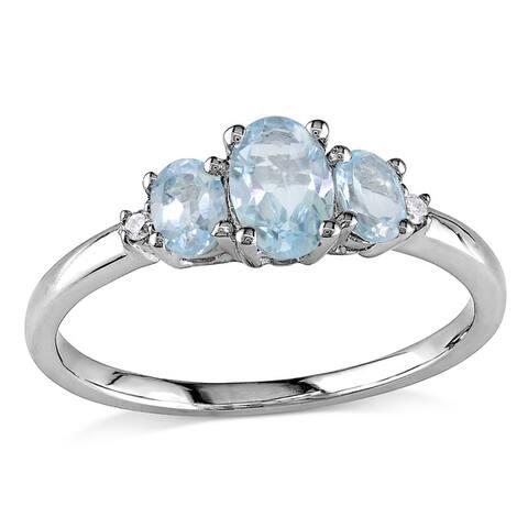 Miadora 10k White Gold Blue Topaz and Diamond Ring