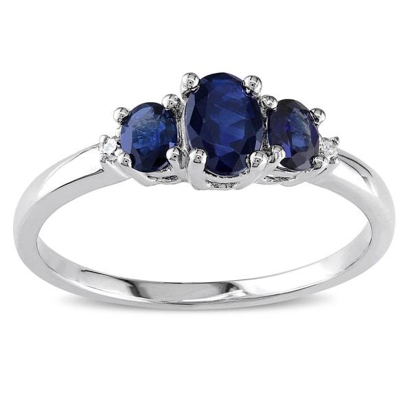 Miadora 10k White Gold Blue Sapphire and Diamond 3-stone Ring
