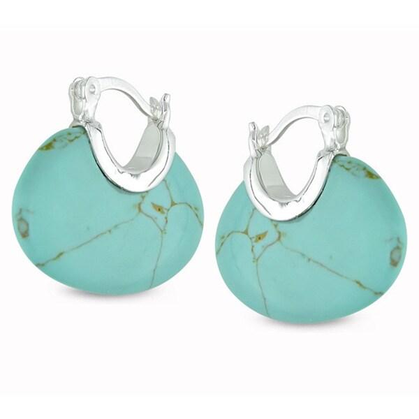 Miadora Sterling Silver Turquoise Hoop Earrings