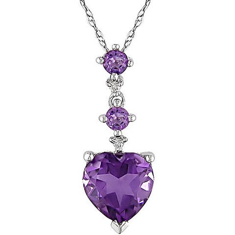 Miadora 10k White Gold Diamond Amethyst Heart Necklace - Purple