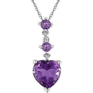 Miadora 10k White Gold Diamond Amethyst Heart Necklace