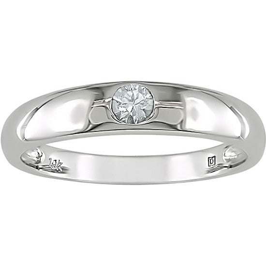 Miadora 10k White Gold and White Sapphire Ring