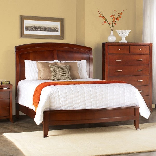 split panel queensize wooden sleigh bed