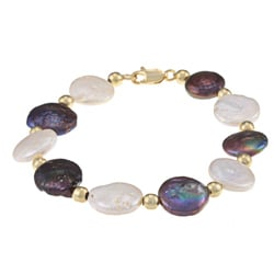 Glitzy Rocks White & Peacock Cultured FW Pearl Bracelet (10 mm)