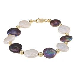 Glitzy Rocks White & Peacock Cultured FW Pearl Bracelet (10 mm)