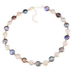 Glitzy Rocks White and Peacock Cultured FW Coin Pearl Necklace (10 mm)