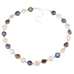 Glitzy Rocks White and Peacock Cultured FW Coin Pearl Necklace