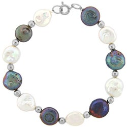 Glitzy Rocks White and Peacock Cultured FW Coin Pearl Bracelet (10 mm)