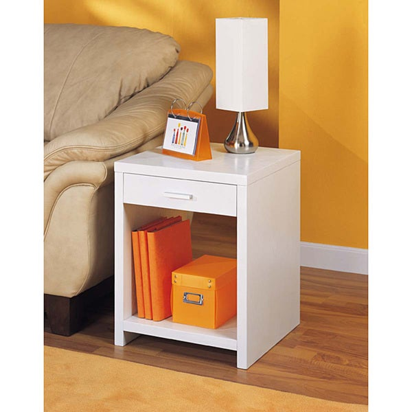 White Pull-out Drawer Side Table
