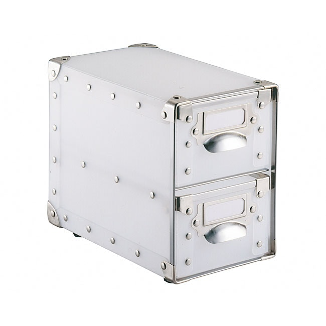 White Polypro 2-Drawer Storage Bin