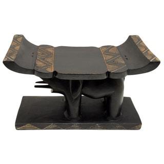 Handcrafted Elephant Head Stool (Ghana)