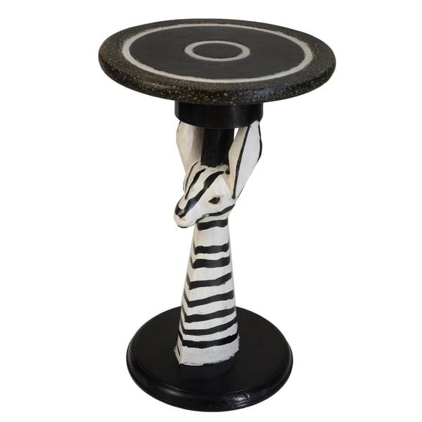 Handmade Hand-created Zebra End Table (Ghana)