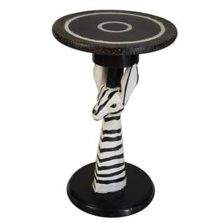 Handmade Hand-created Zebra End Table (Ghana)