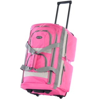 Olympia 26-inch 8-pocket Rolling Upright Duffel Bag (Option: Hot Pink)
