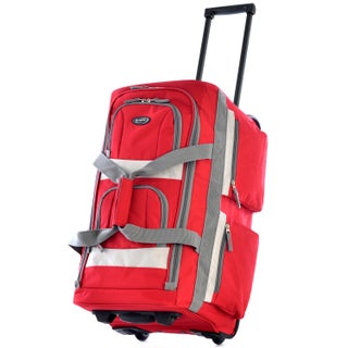 Olympia 26-inch 8-pocket Rolling Upright Duffel Bag (Option: Red)