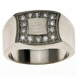 14k White Gold Overlay Men's Signet Ring