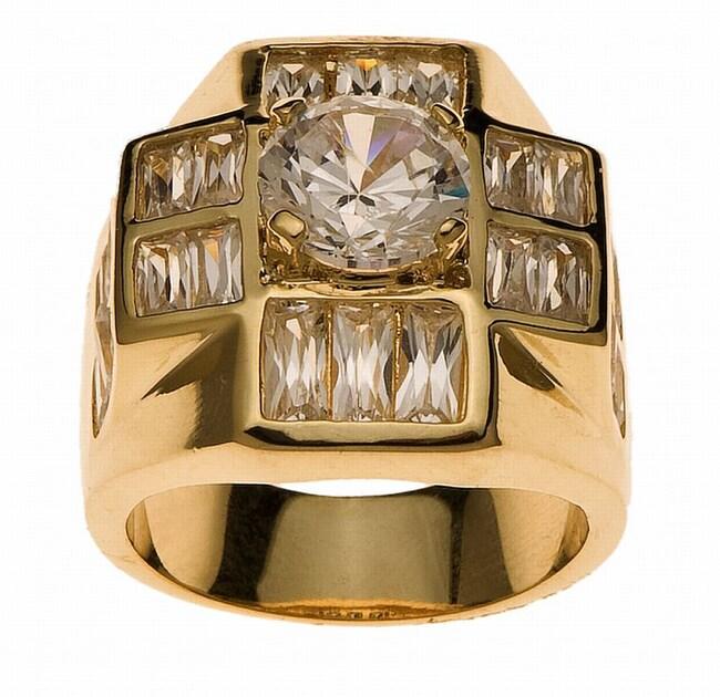 Simon Frank 14k Yellow Gold Overlay Men's Super Cluster Ring