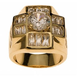 Simon Frank 14k Yellow Gold Overlay Men's Super Cluster Ring