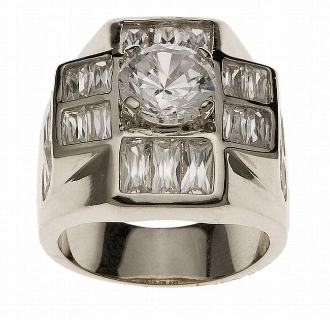 Simon Frank White Gold Overlay Men's Super Cluster Ring