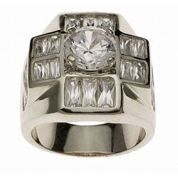 Simon Frank White Gold Overlay Men's Super Cluster Ring