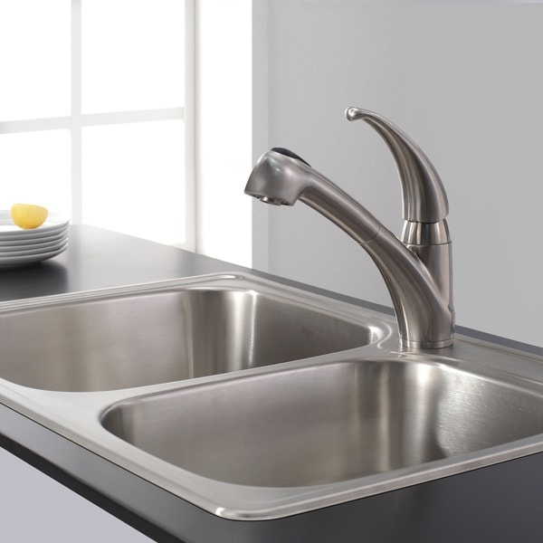 KRAUS Single Handle Solid Stainless Steel Kitchen Faucet With Pull Out  Dual Function Sprayer