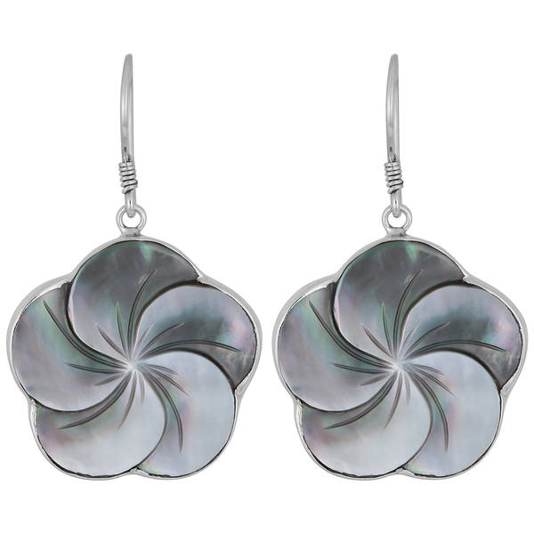 Handmade Sterling Silver Mother of Pearl Floral Earrings (Indonesia)